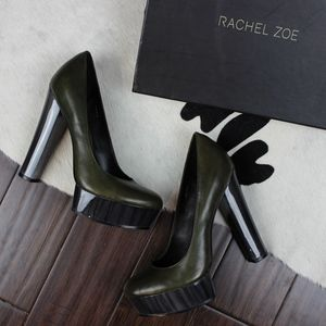 Rachel Zoe Leila Green Leather Platform Pumps 6.5